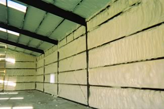 Open Cell insulation in a metal building.
